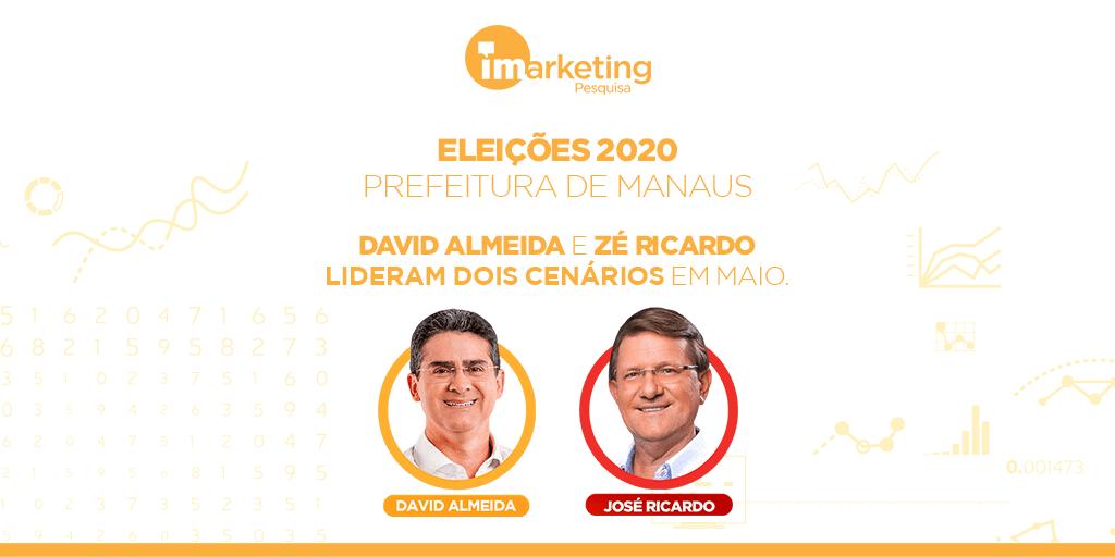 David Almeida e Zé Ricardo seguem como os dois primeiros nas intenções de voto do eleitor manauara.